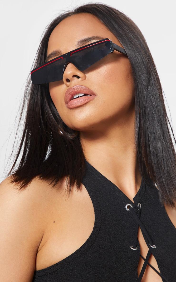 Black Frame Slimline Ski Sunglasses 1