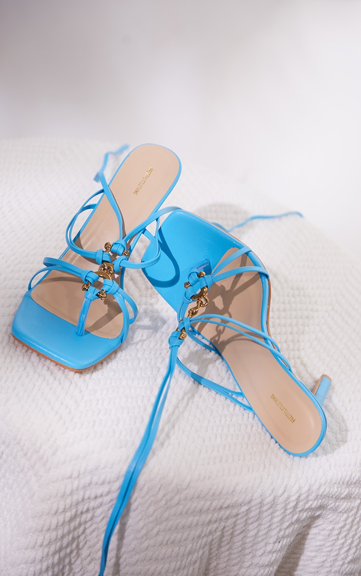 Blue Wide Fit PU Chain Detail Toe Thong Lace Up High Heeled Sandals 4