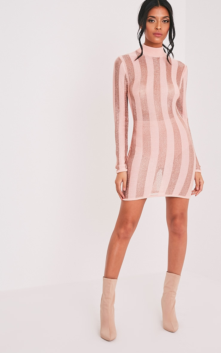 Amias Blush Metallic Knitted Mini Dress 5