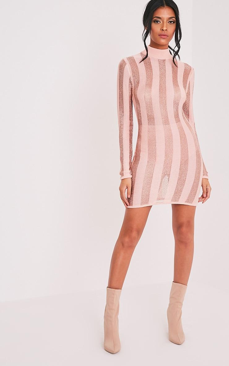 Amias robe mini rose pâle métallisé à rayures 5