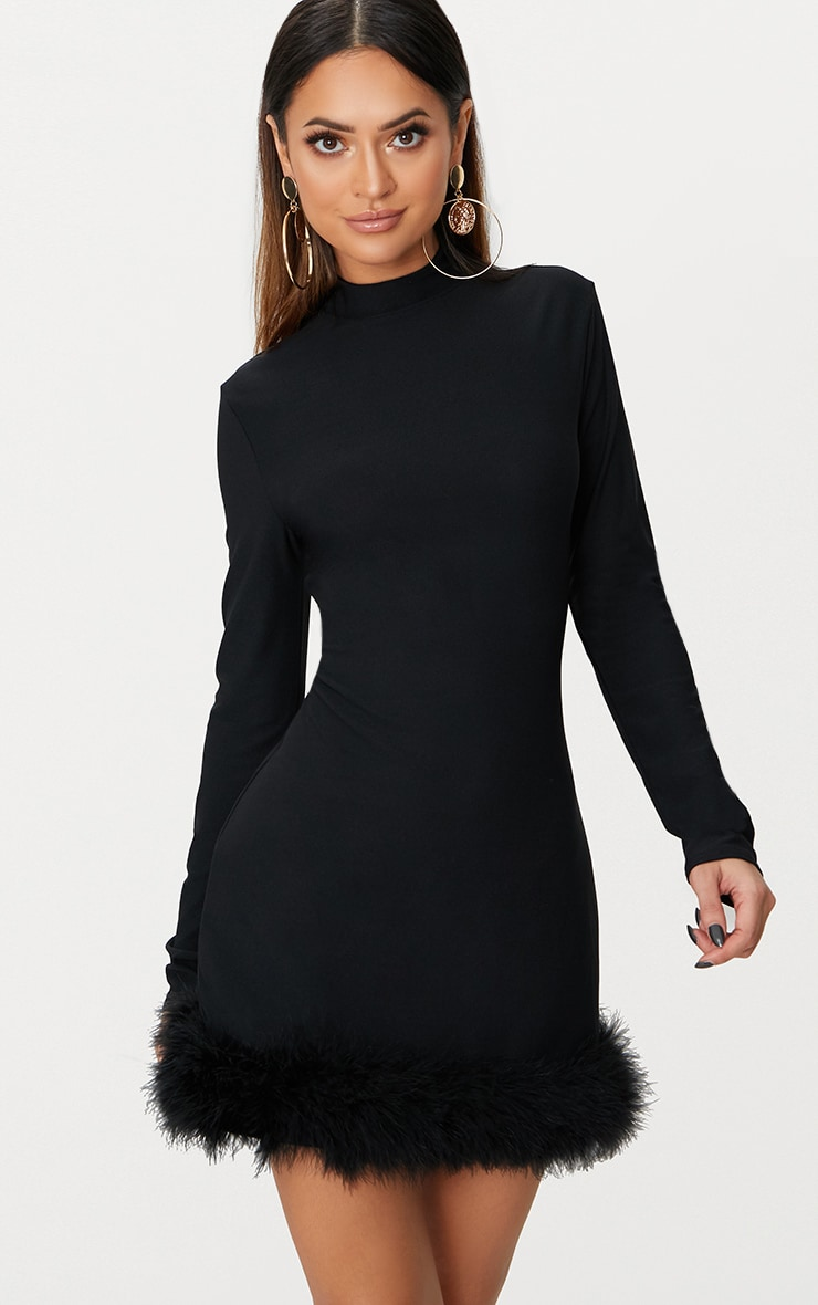 Black Feather Hem Detail Long Sleeve High Neck Bodycon Dress 1