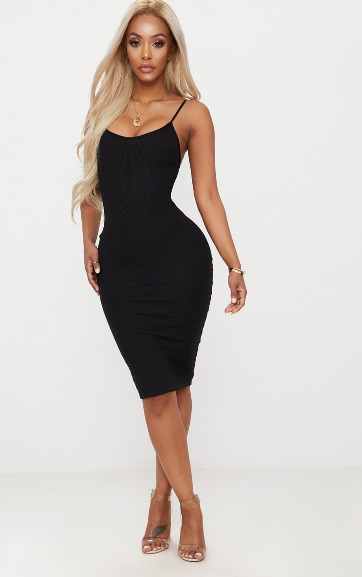 Shape Black Ribbed Strappy Midi Dress 1