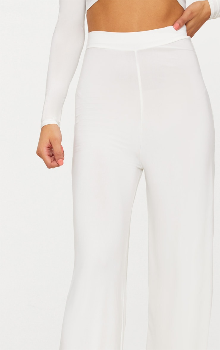 Cream Slinky Wide Leg Pants  5