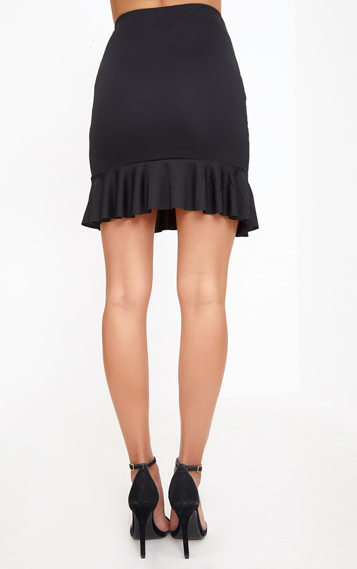 Black Embroidery Printed Frill Hem Mini Skirt 3