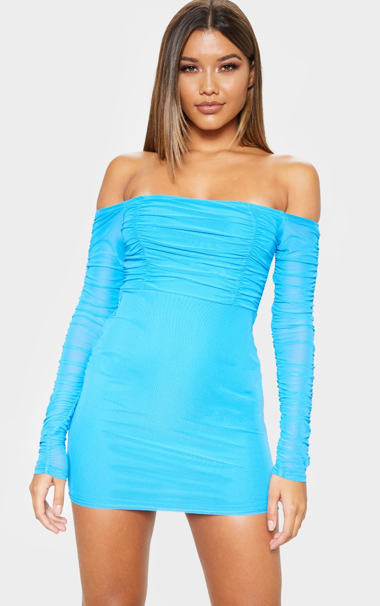 Blue Ruched Mesh Bardot Bodycon Dress 1