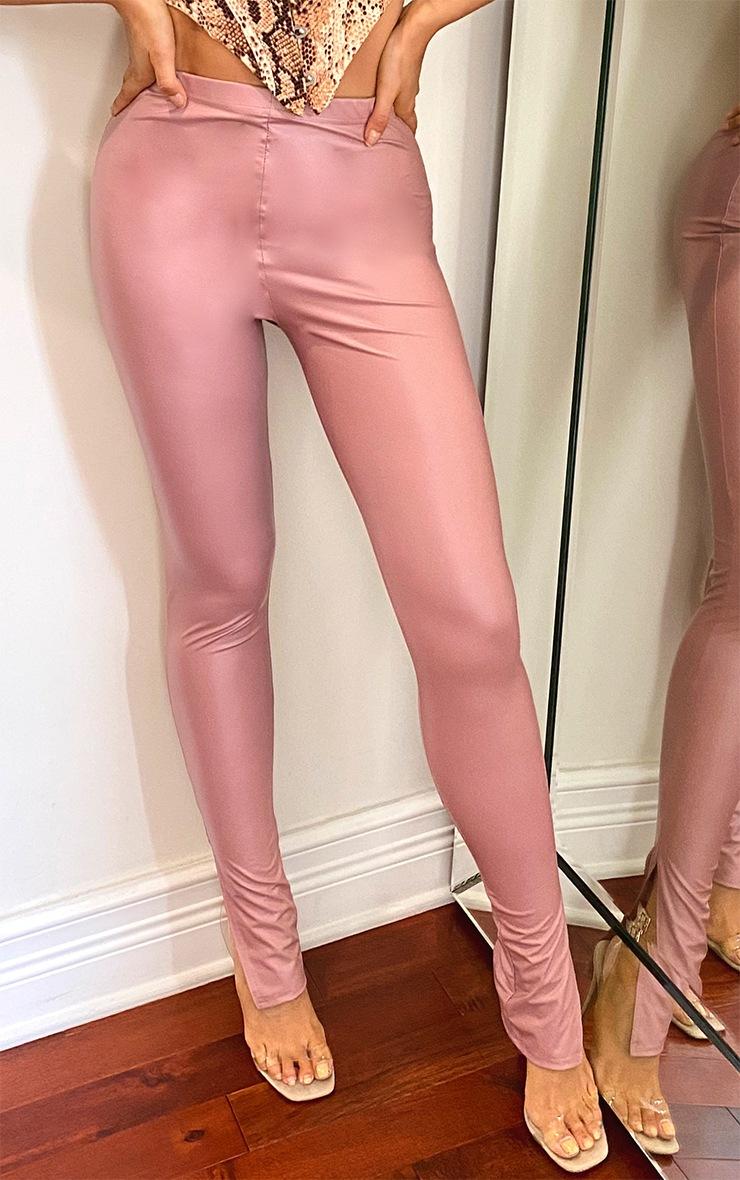 Tall Nude Split Hem Coated PU Legging 2