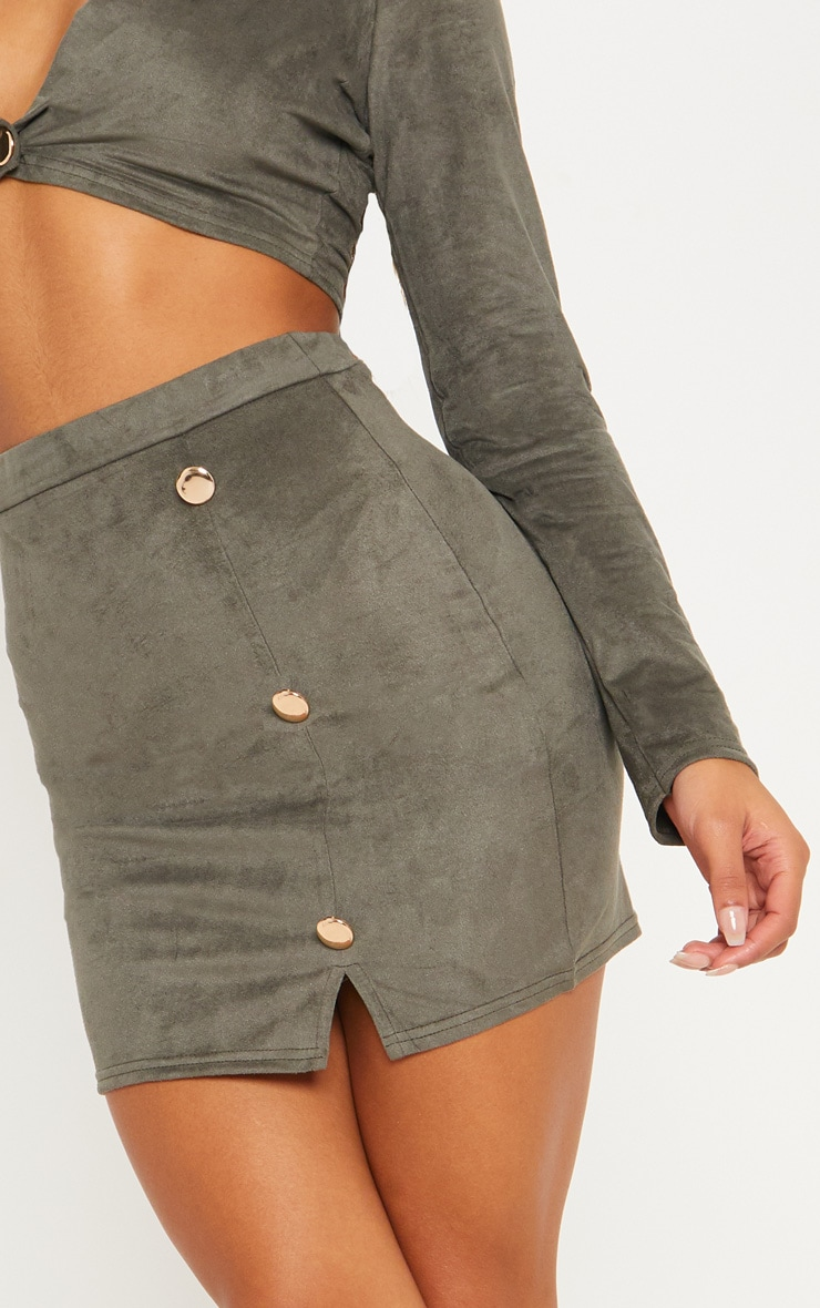 Khaki Faux Suede Button Detail Mini Skirt 6