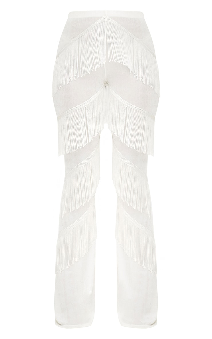 White Slinky Tiered Fringe Flared Trousers 3