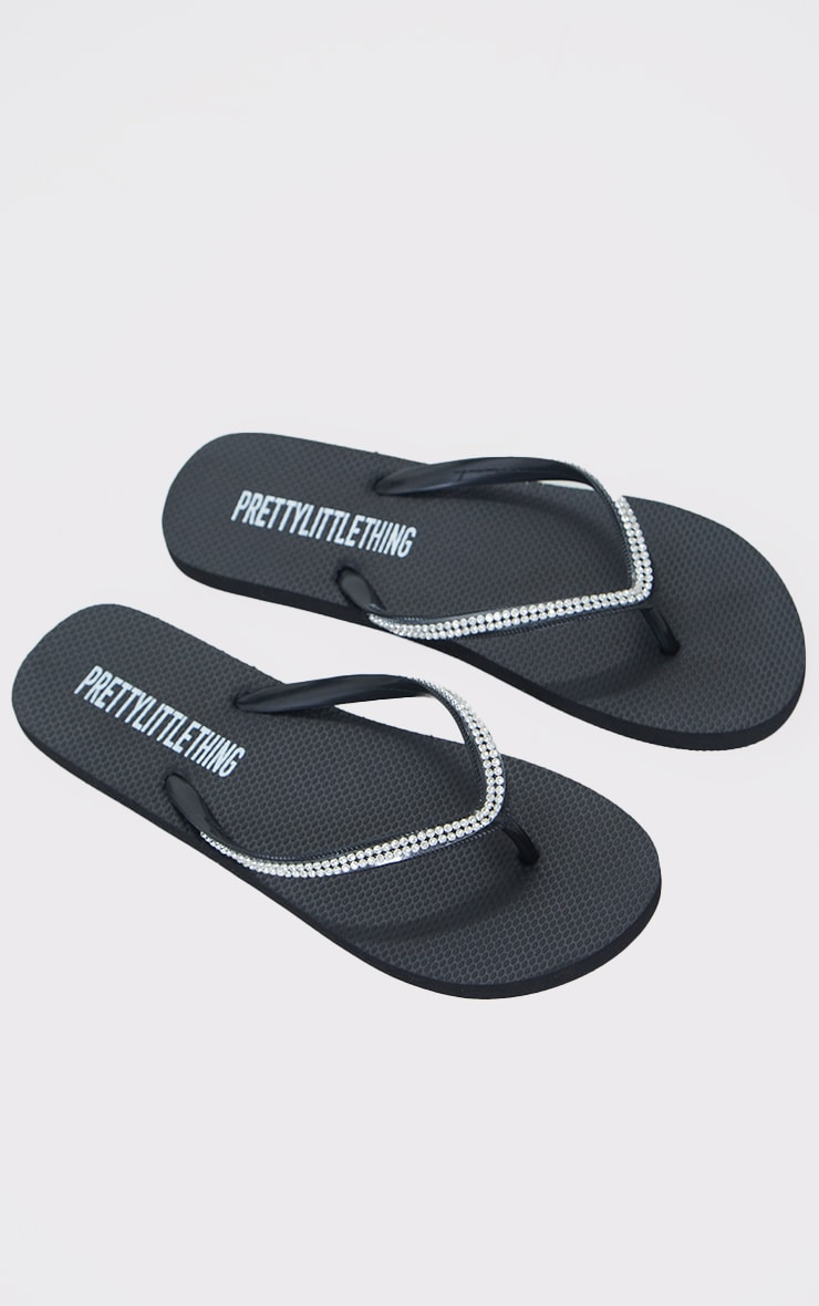Black Diamante Toe Thong Flip Flop 3