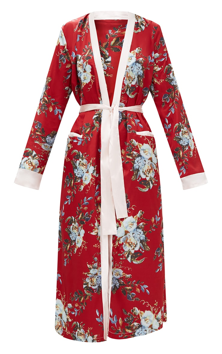 Red Floral Satin Duster Jacket  4
