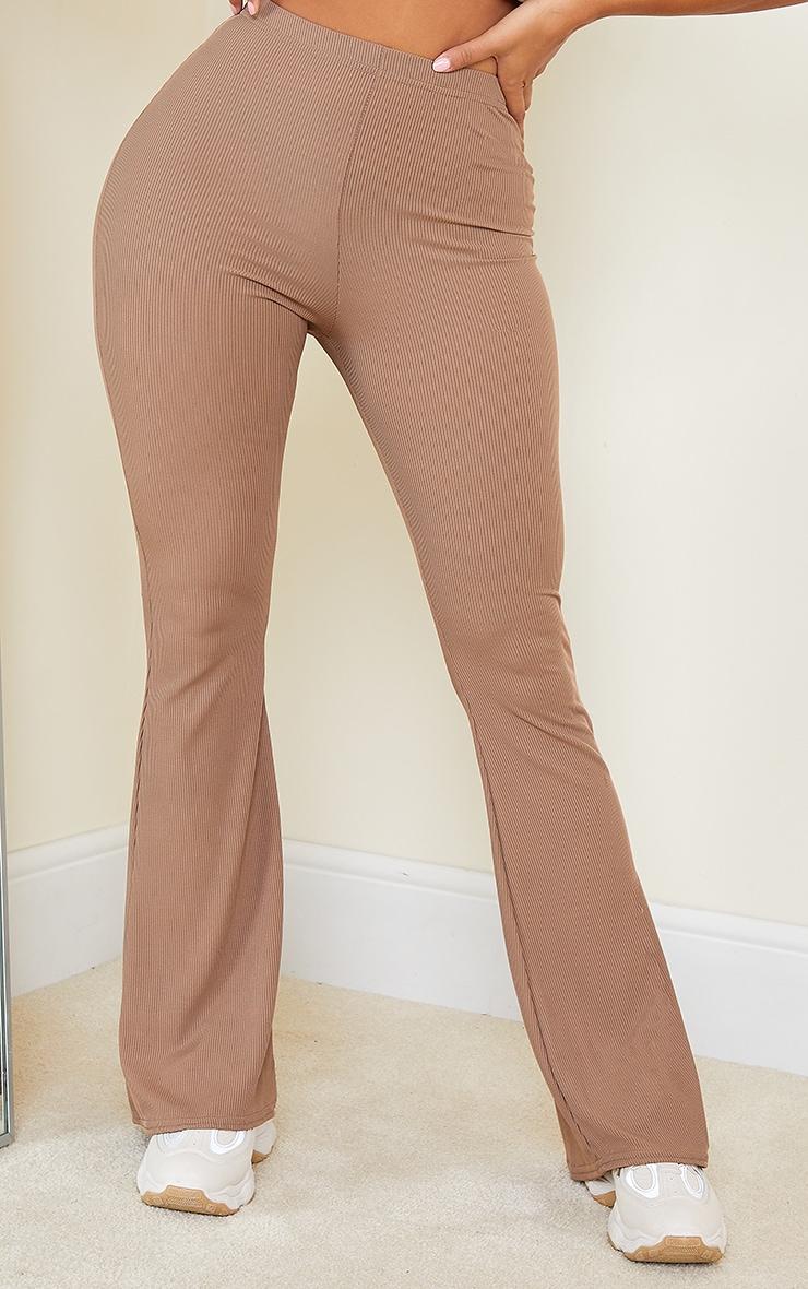 Shape Mocha Rib Detail Flared Trouser 2