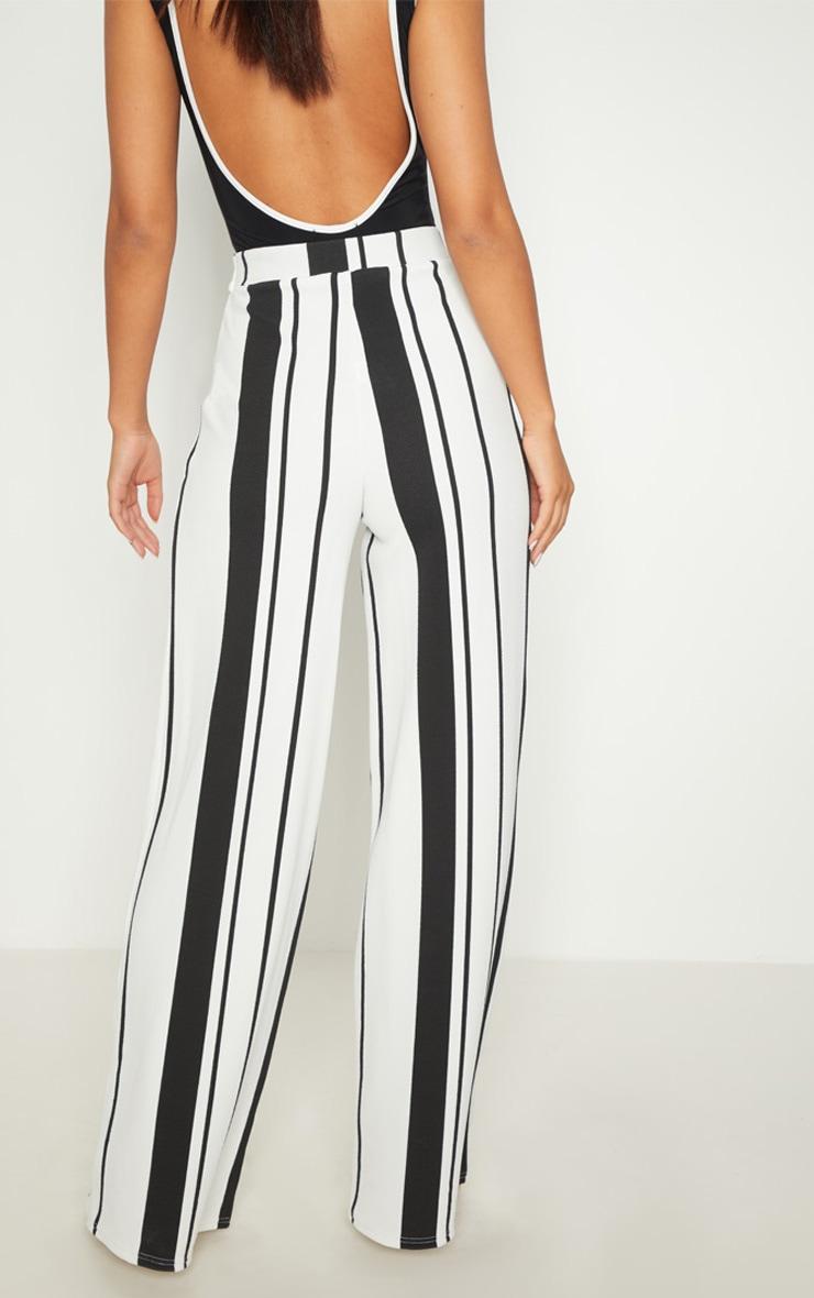Black Crepe Stripe Tie Waist Wide Leg Trouser 3