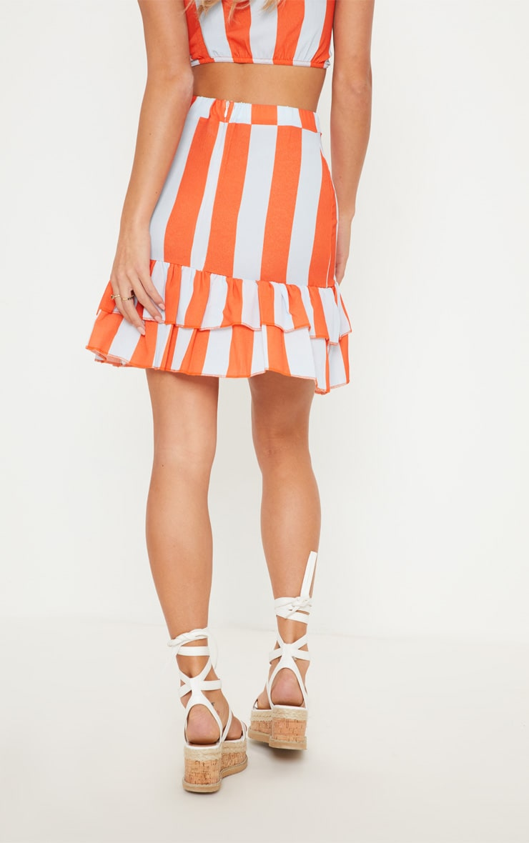 Multi Stripe Pebble Crepe Frill Hem Mini Skirt 4