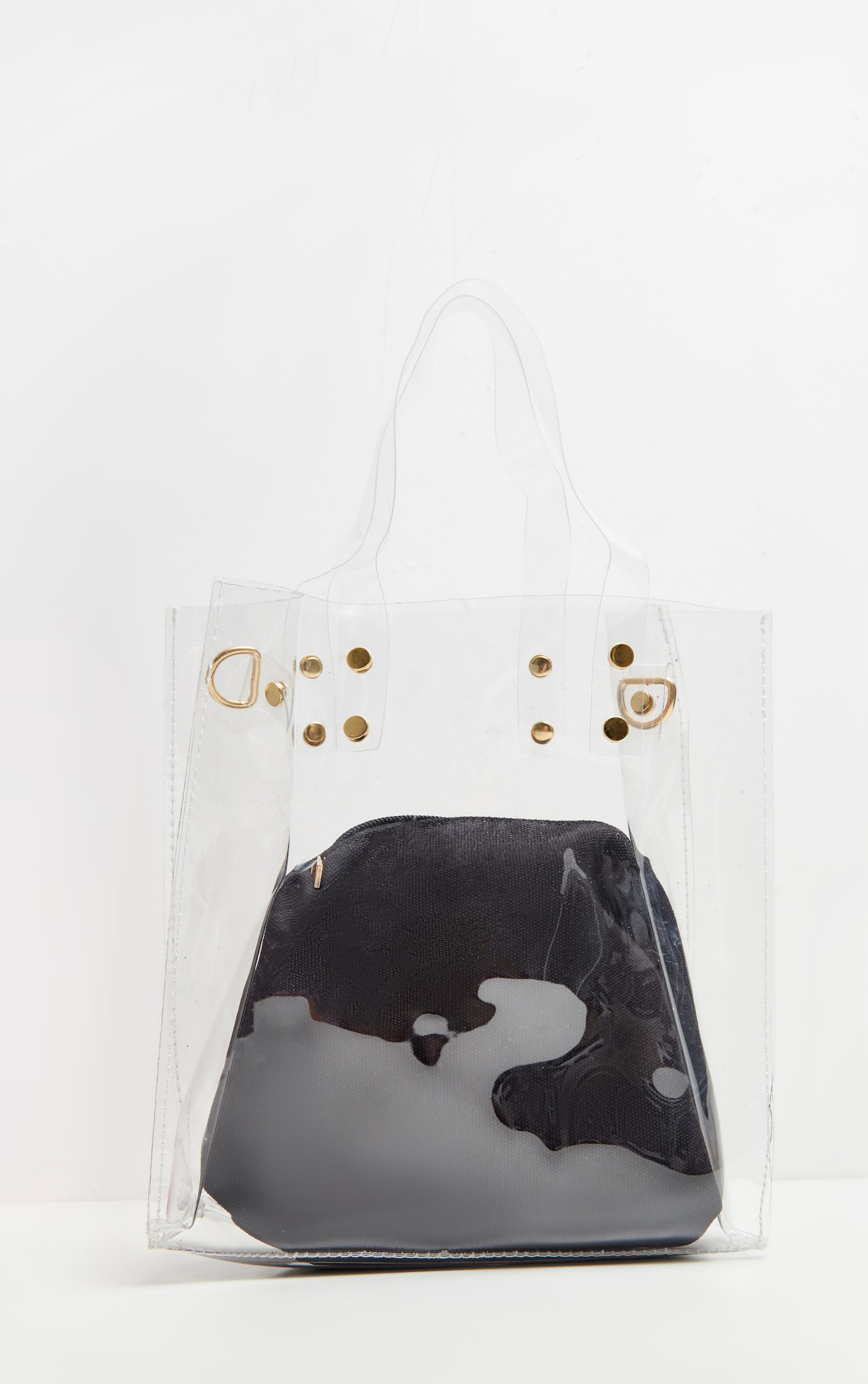 PRETTYLITTLETHING Logo Strap Clear Shopper Bag 3