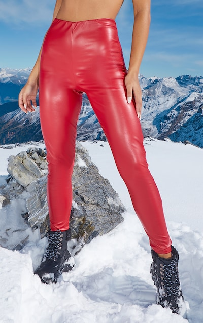 Red Faux Leather High Waisted Legging