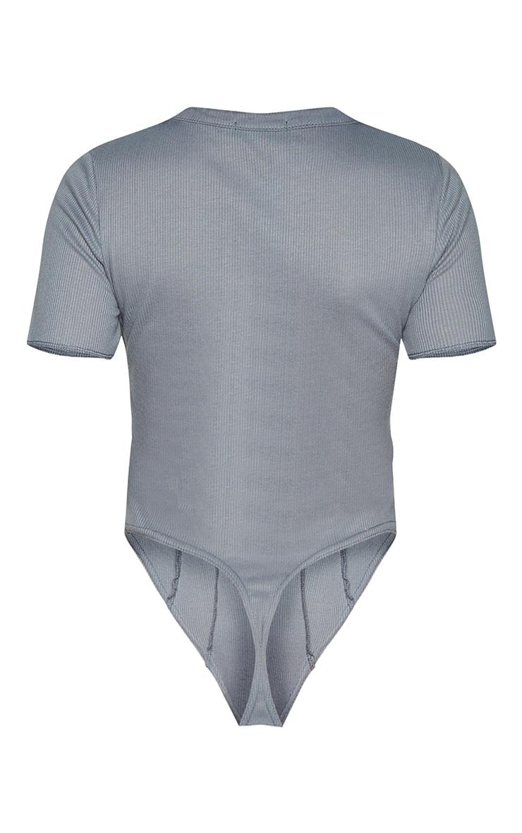 Grey Rib Short Sleeve Seam Detail Bodysuit 6