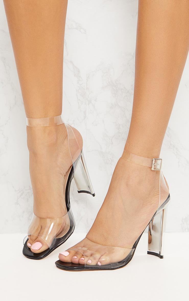 Black Clear Flat Heel Sandal 2