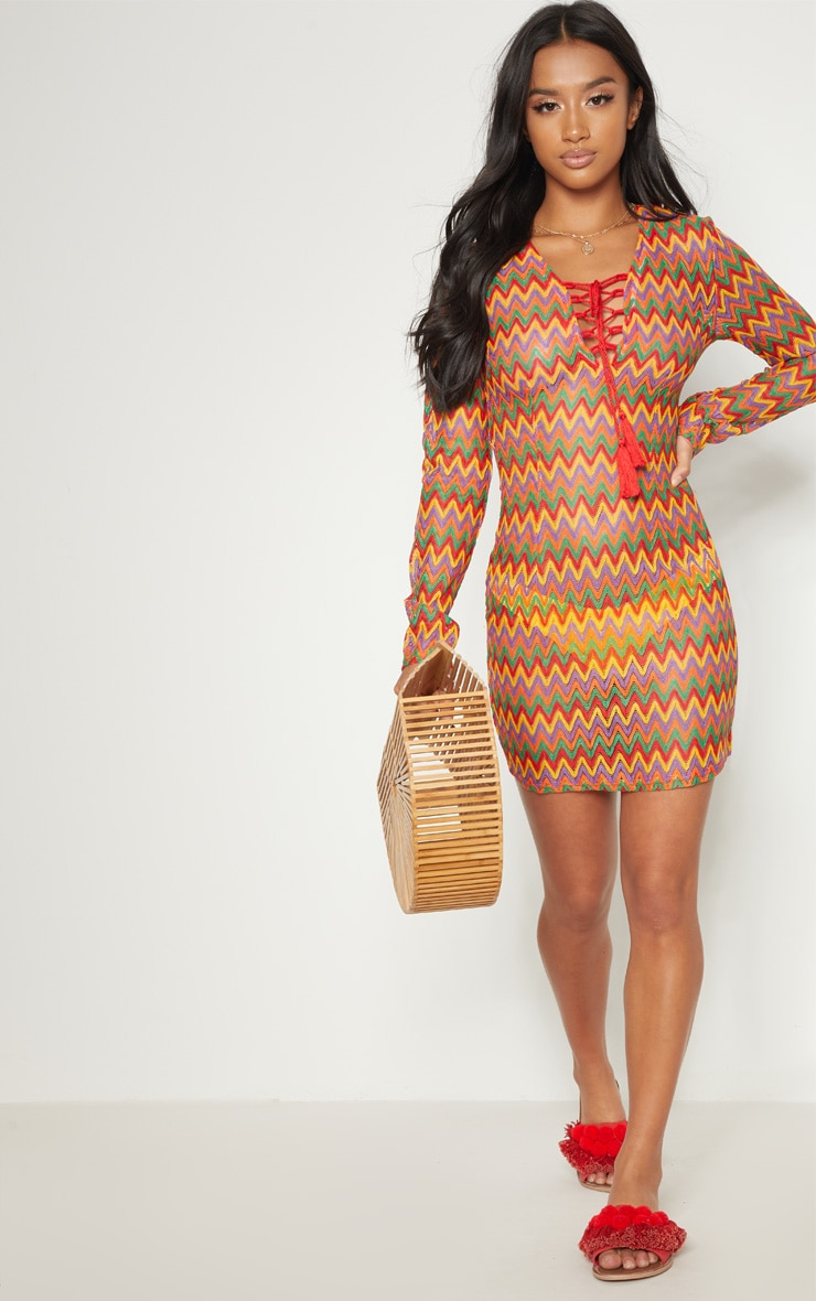 Petite Multi Crochet Lace Up Mini Dress 4