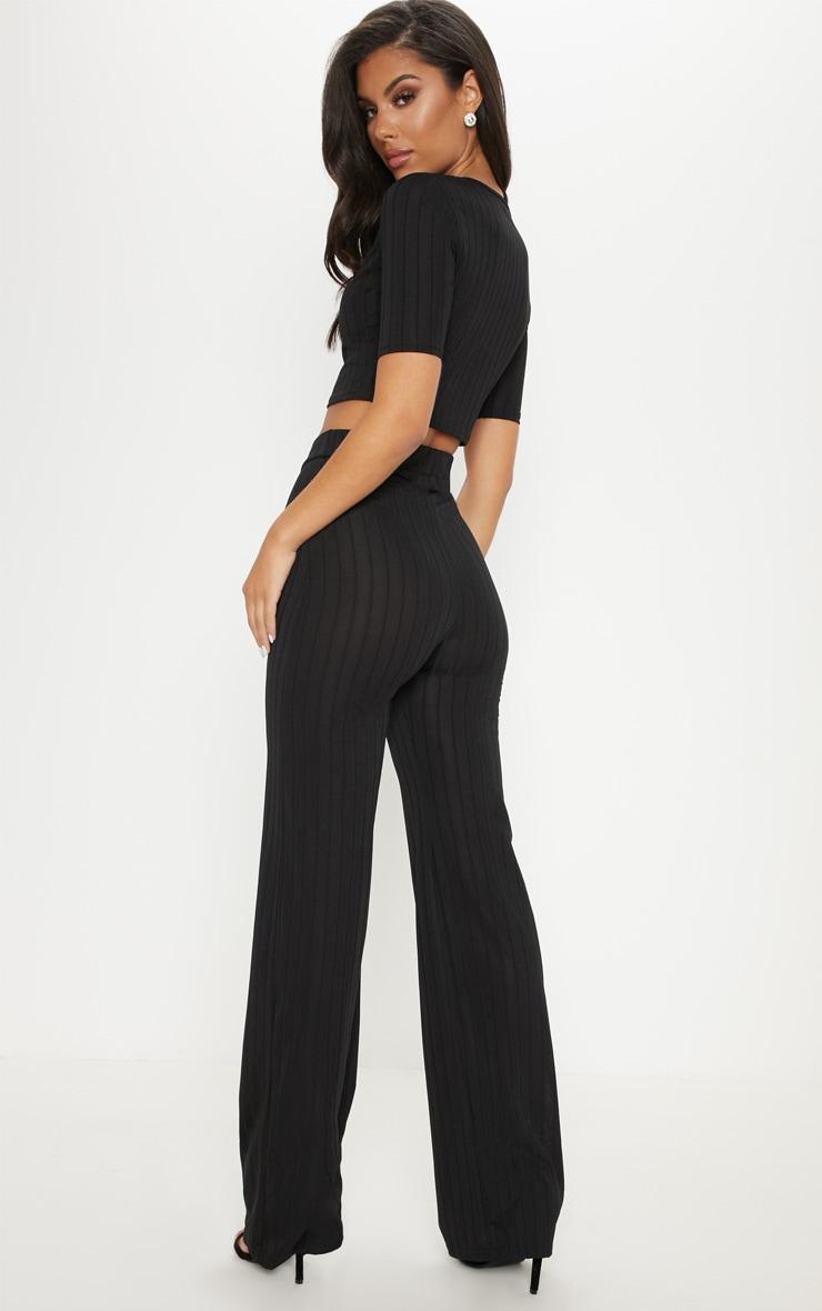 Black Short Sleeve Rib Set 2