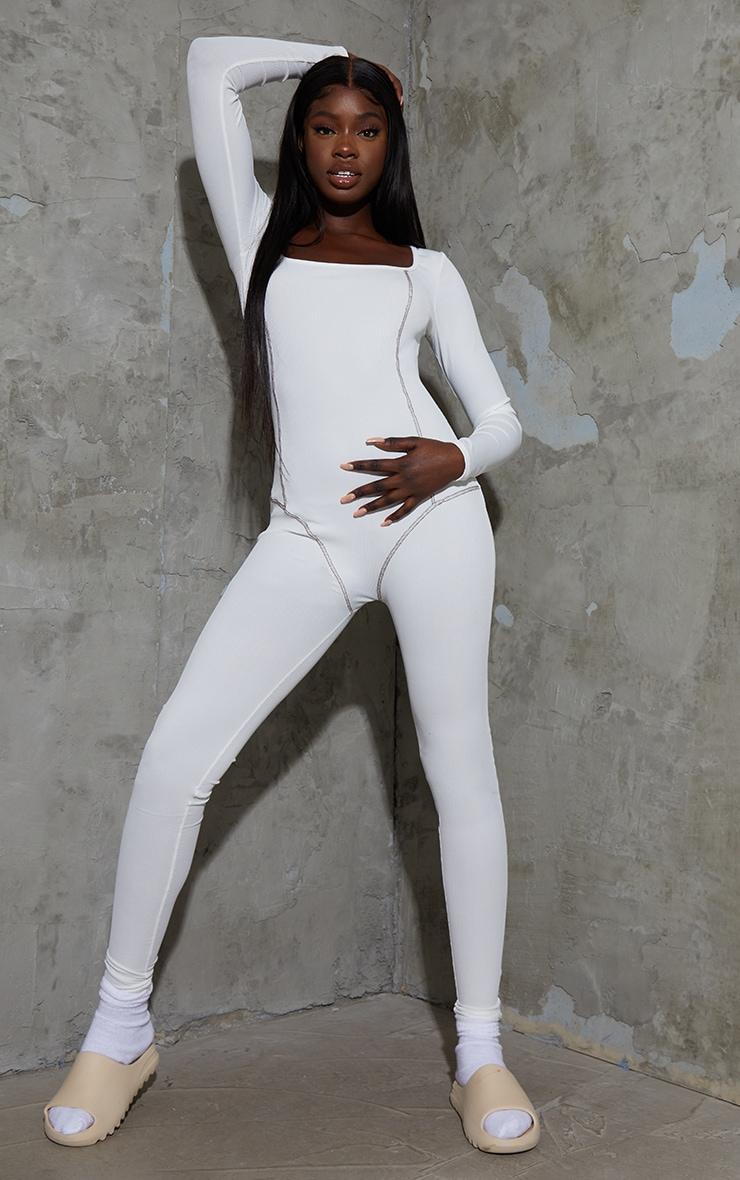 Tall White Contrast Seam Rib Jumpsuit 1