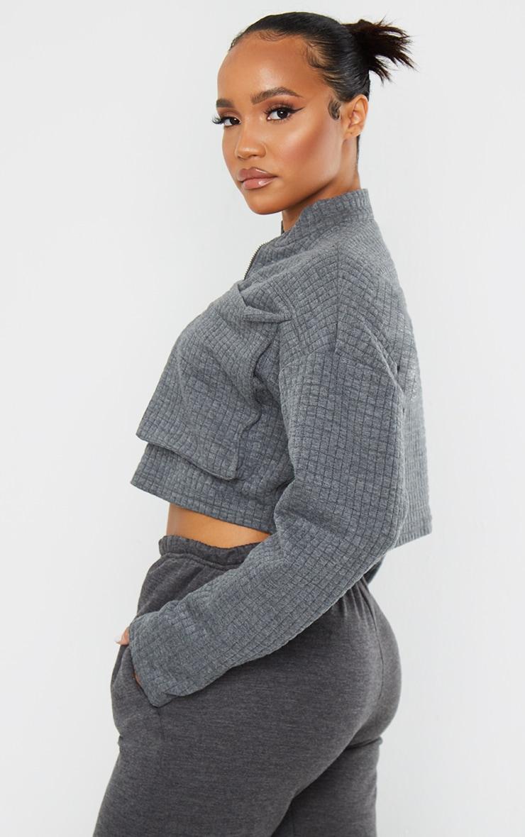 Grey Quilted Oversized Pocket Zip Up Sweatshirt 2