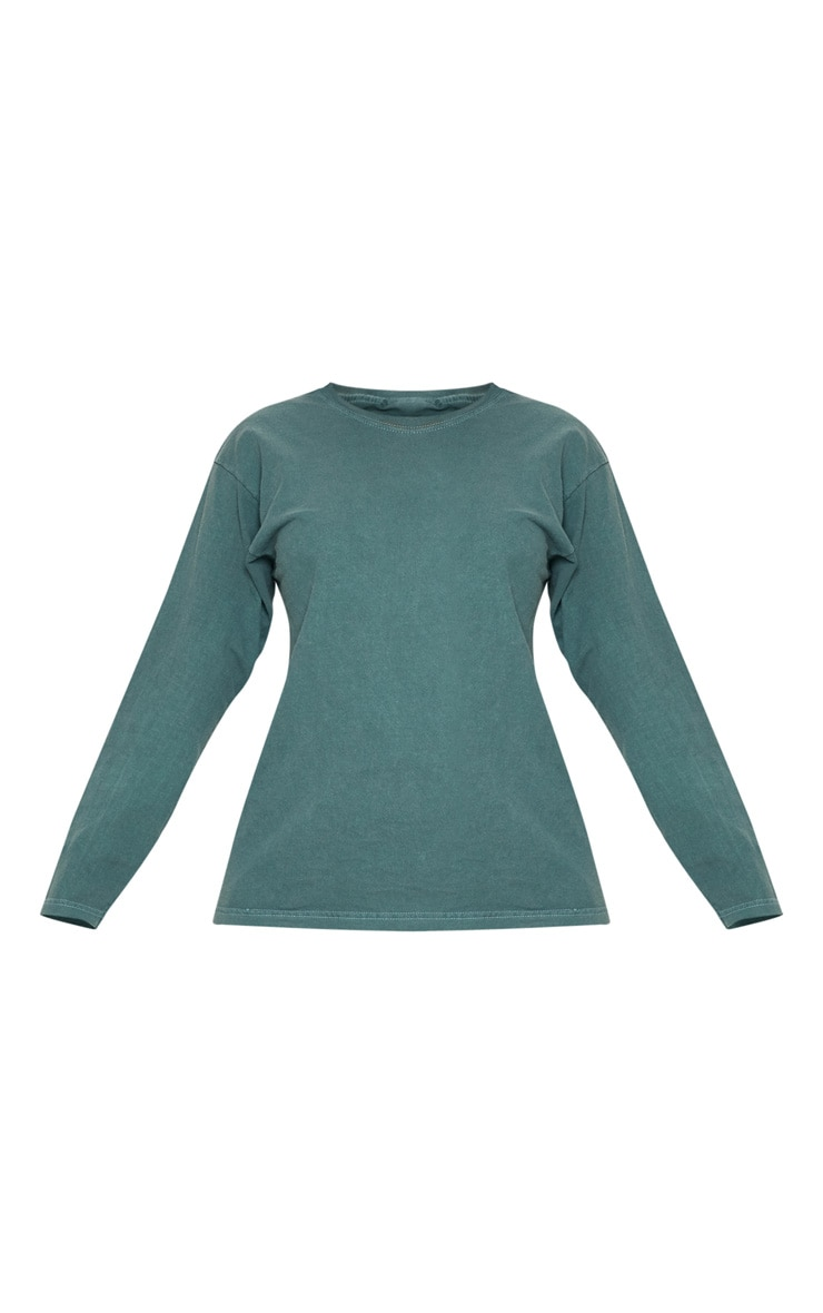 Petrol Blue Washed Long Sleeve T shirt 3