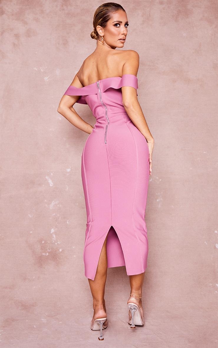Mauve Bandage Bardot Binded Midi Dress 2