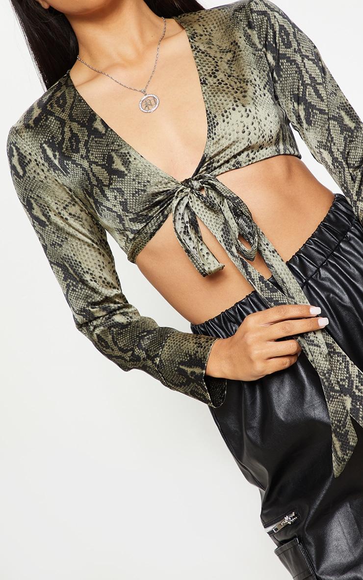Green Snake Print Tie Front Crop Shirt 5