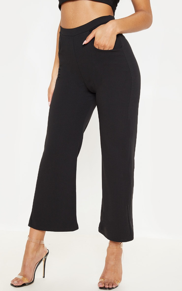 Black Cropped Wideleg Trousers 2