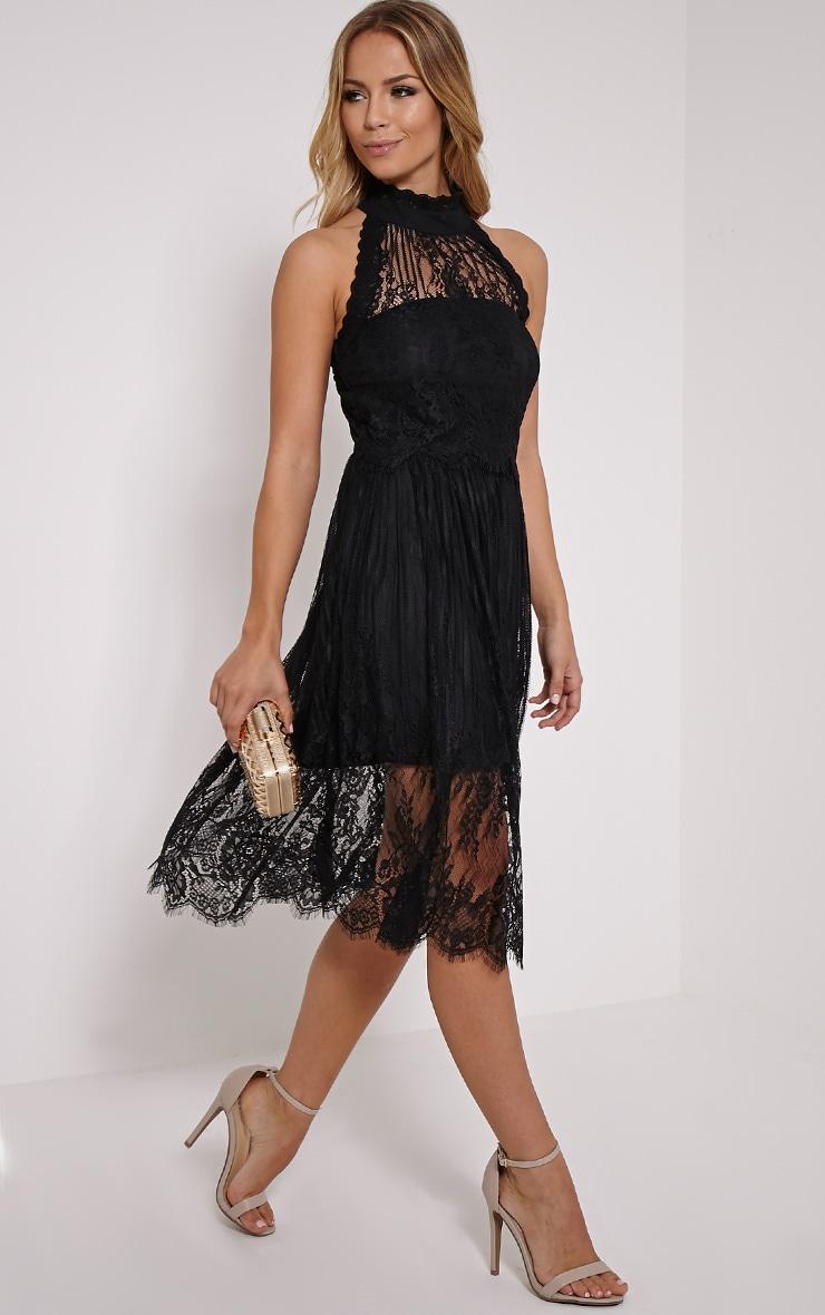 Shirl Black Racer Neck Lace Skater Dress 4