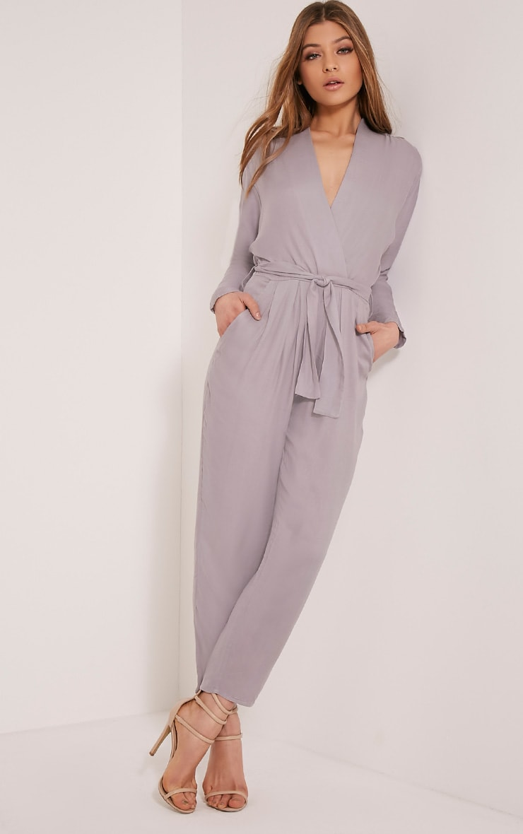 Briana Grey Wrap Jumpsuit 5