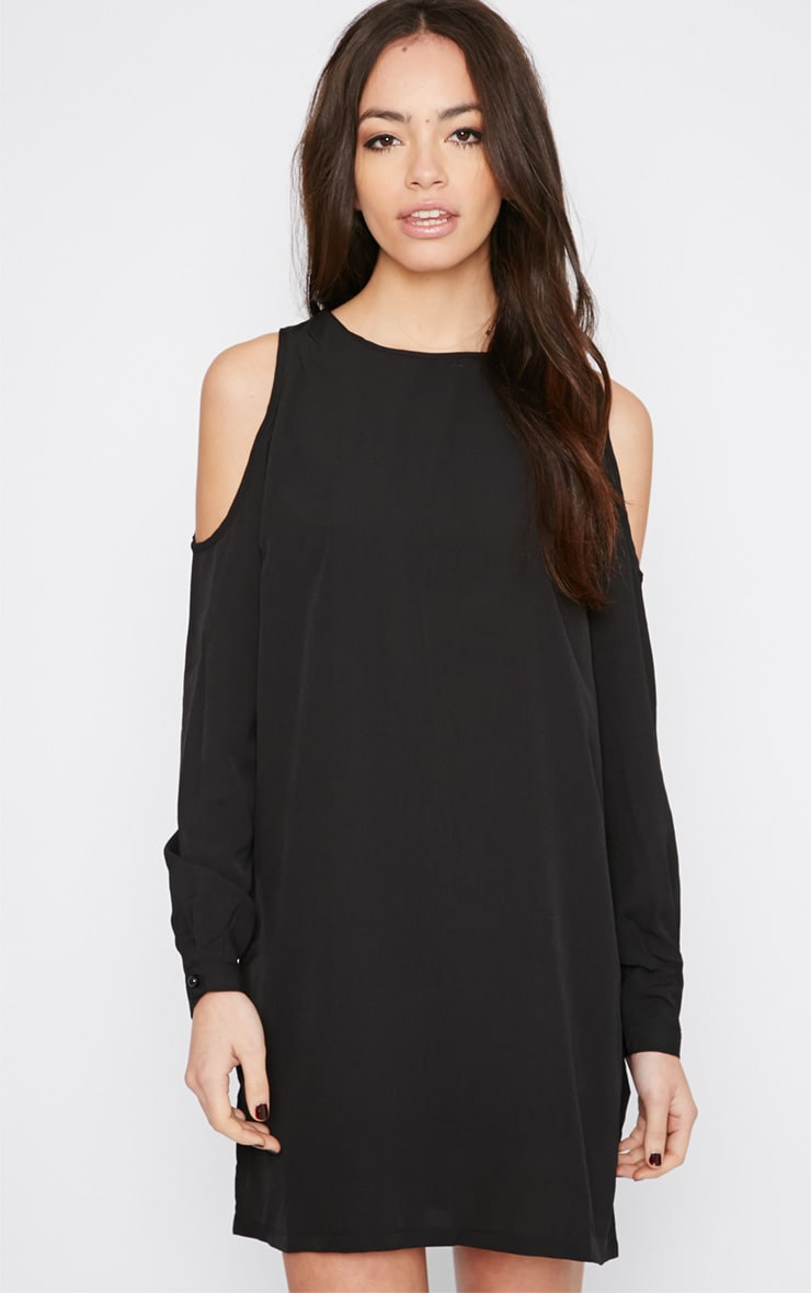 Genny Black Cut Out Shoulder Dress 1