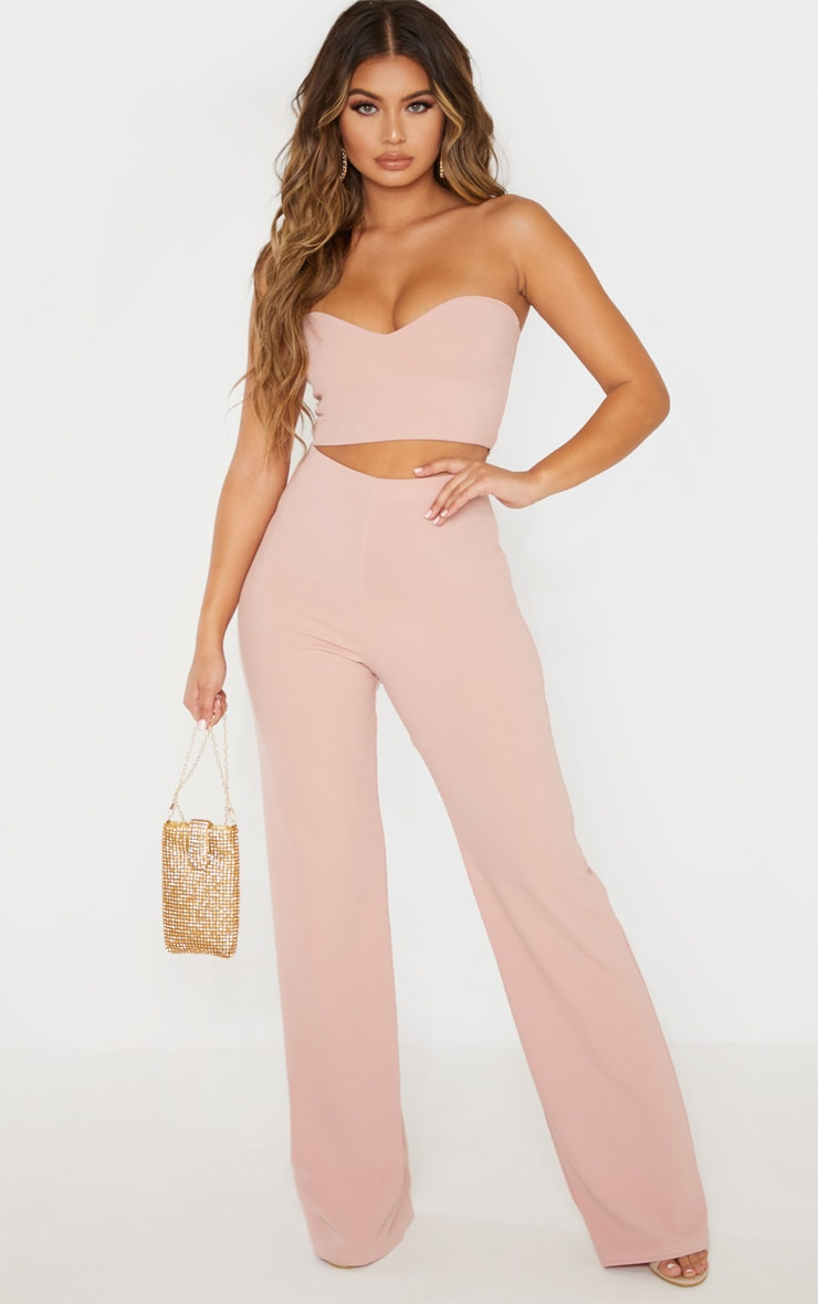 Crop top bandeau rose cendré à encolure coeur 4