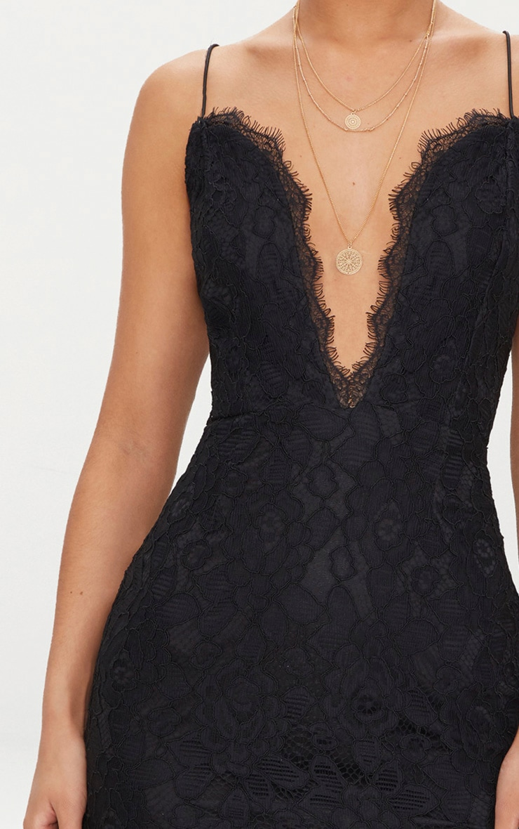 Black  Strappy Plunge Lace Bodycon Dress 5