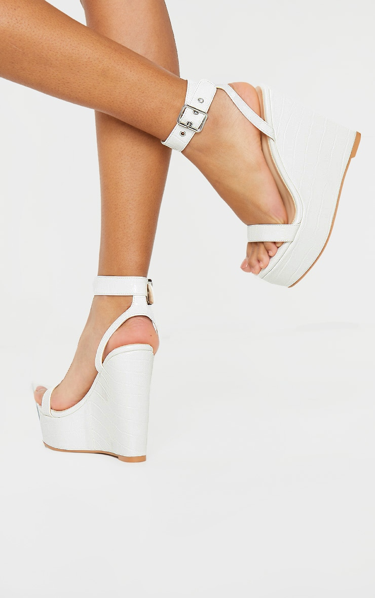 White Ankle Strap High Wedges 3