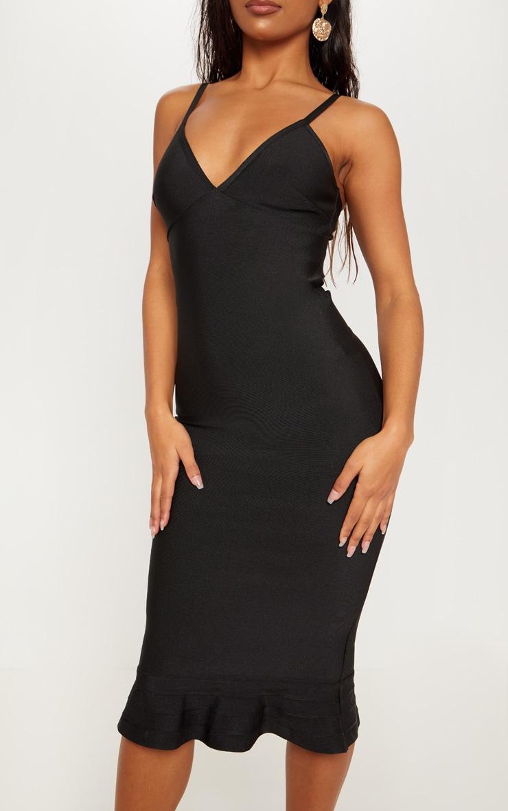 Black Bandage Strappy Frill Hem Midi Dress 5