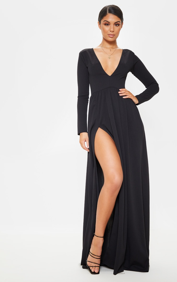 8946faf905 Black Long Sleeve Plunge Maxi Dress   PrettyLittleThing
