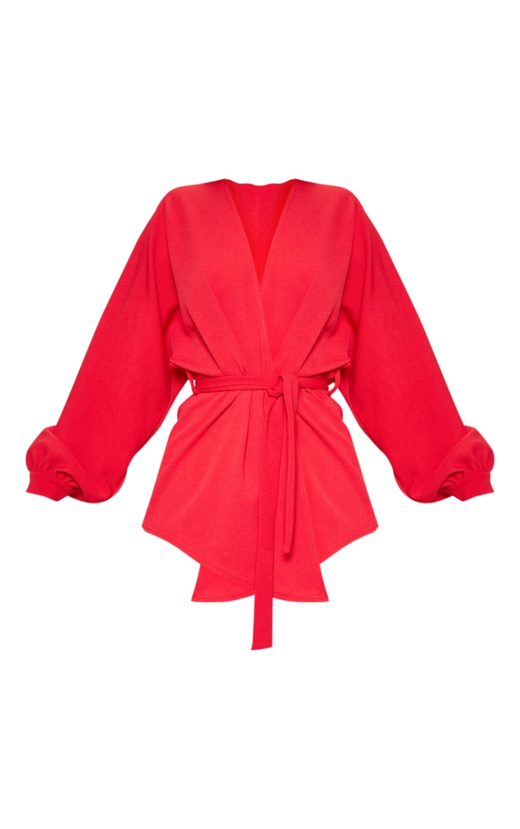Red Oversized Sleeve Belted Blazer  3