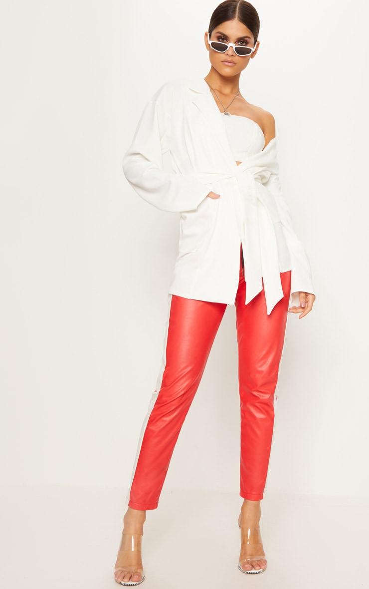 White Oversized Belted Blazer 4