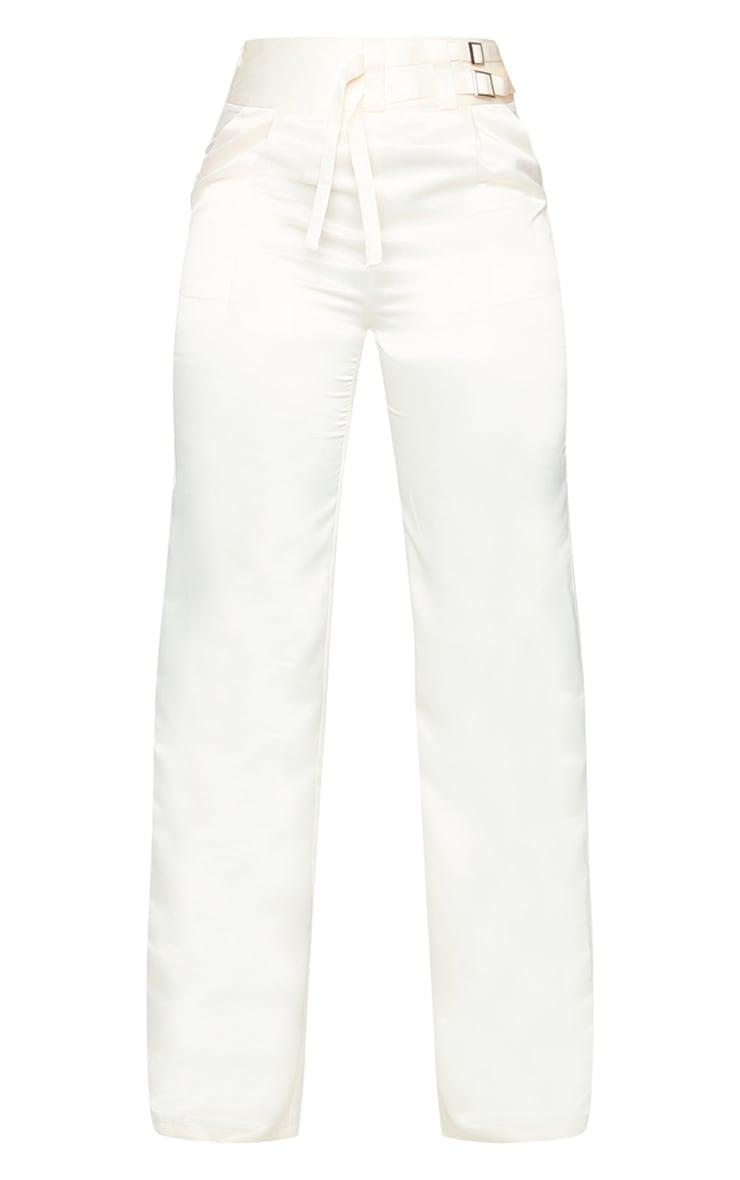 Cream Satin Buckle Detail Wide Leg Trousers 5
