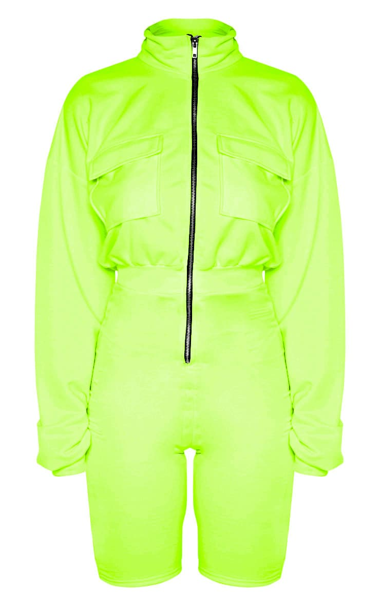 Tall Neon Lime Zip Front Pocket Unitard 3