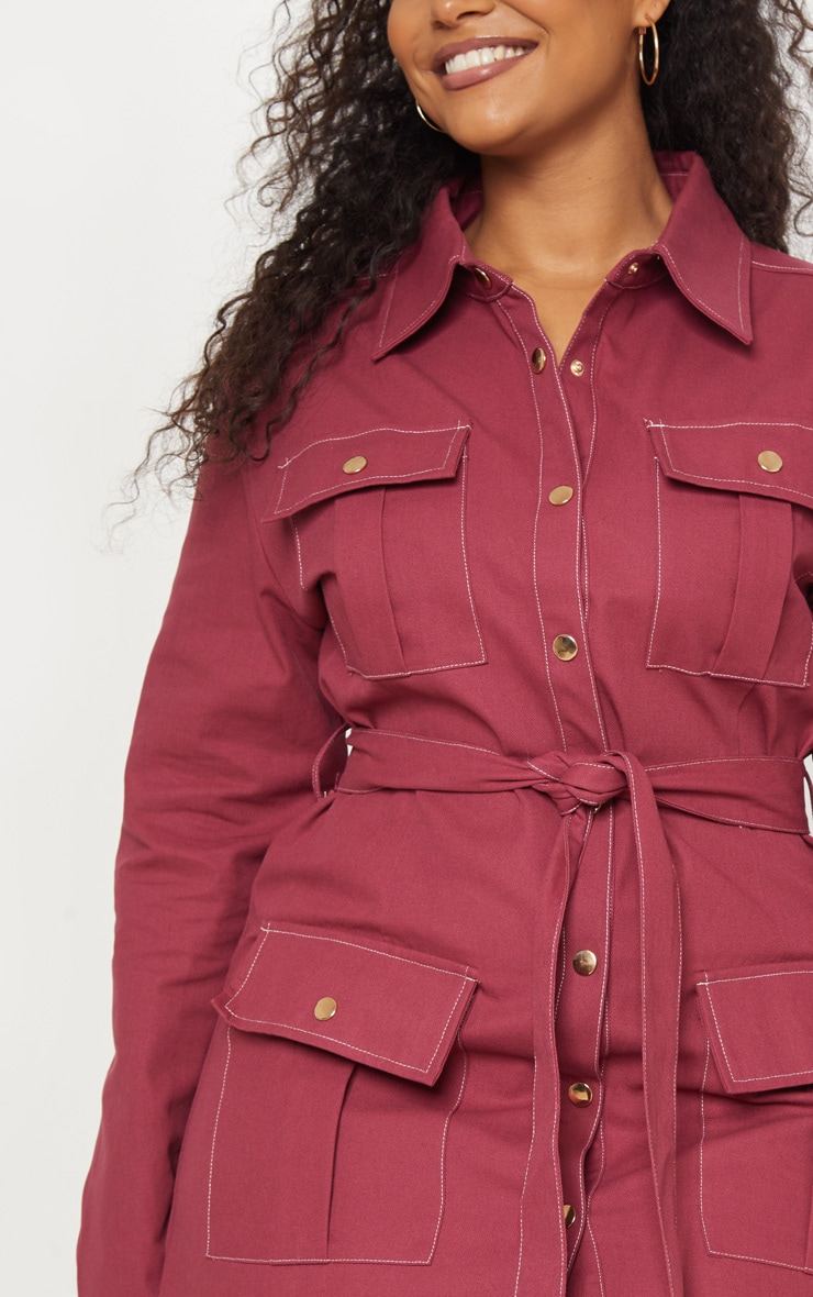 Plus Burgundy Tie Waist Denim Shirt Dress 5