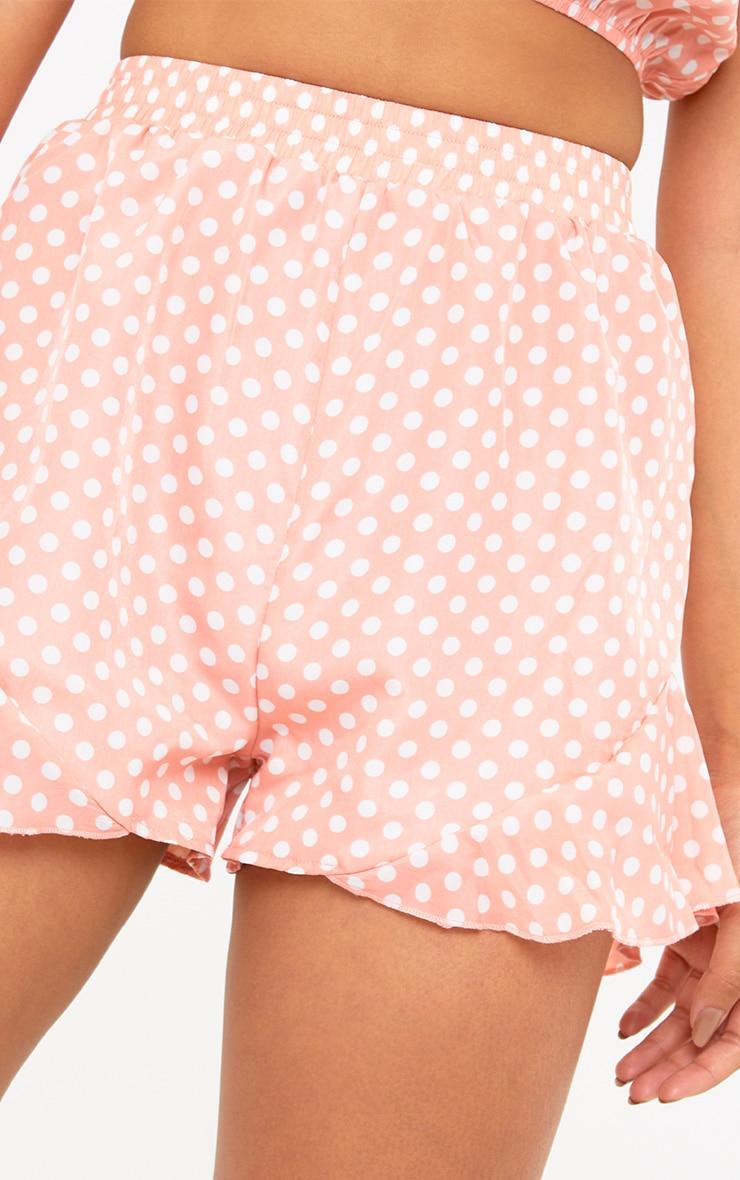 Pink Polka Dot Ruffle Shorts 6