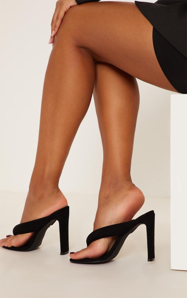 Black Flat Heel Thong Sandal 3