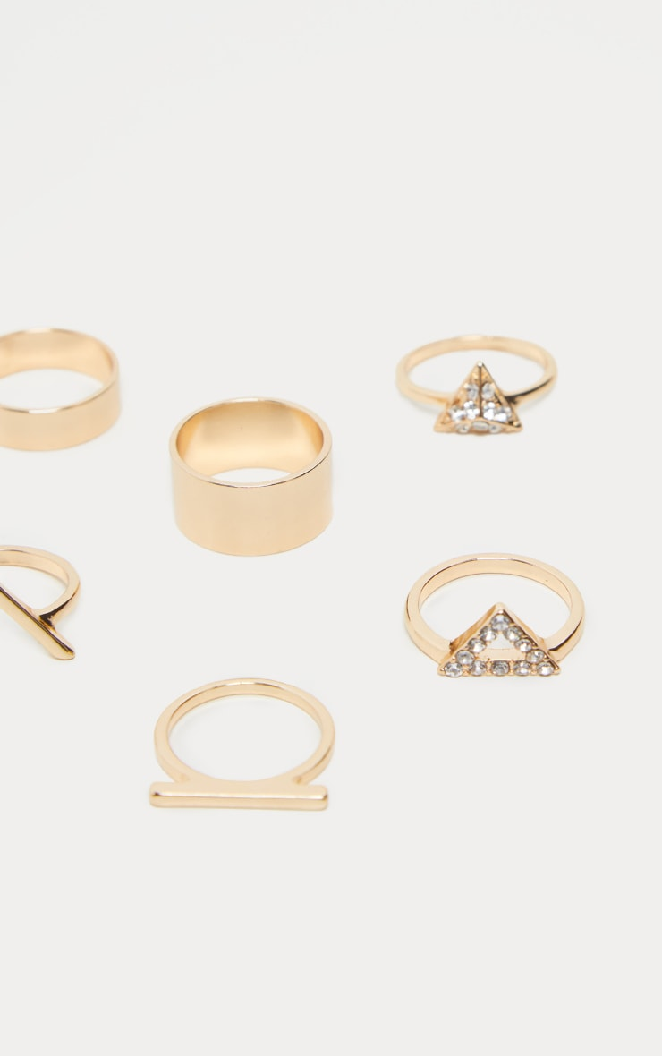Gold V Shape Ad Diamante Ring Set 3