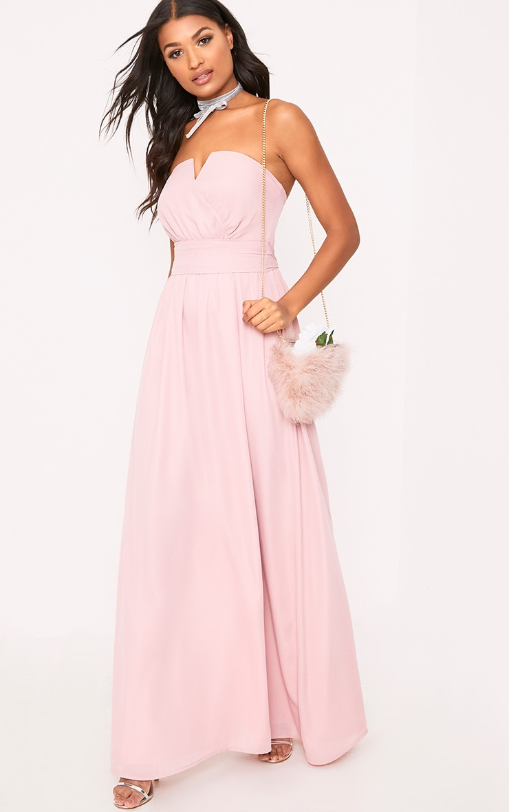 Lainey Dusty Pink Bandeau Maxi Dress 4