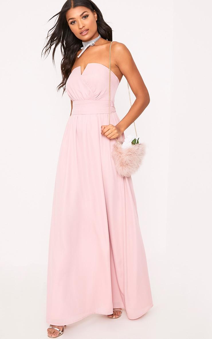 Lainey Dusty Pink Bandeau Maxi Dress 4