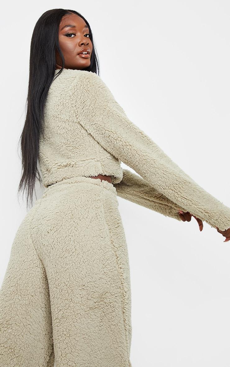 Tall Sage Green Soft Borg Elastic Hem Cropped Sweater 2