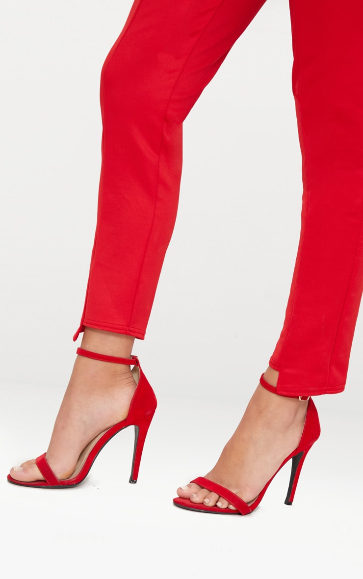 Red Scuba Step Hem Skinny Trousers 5