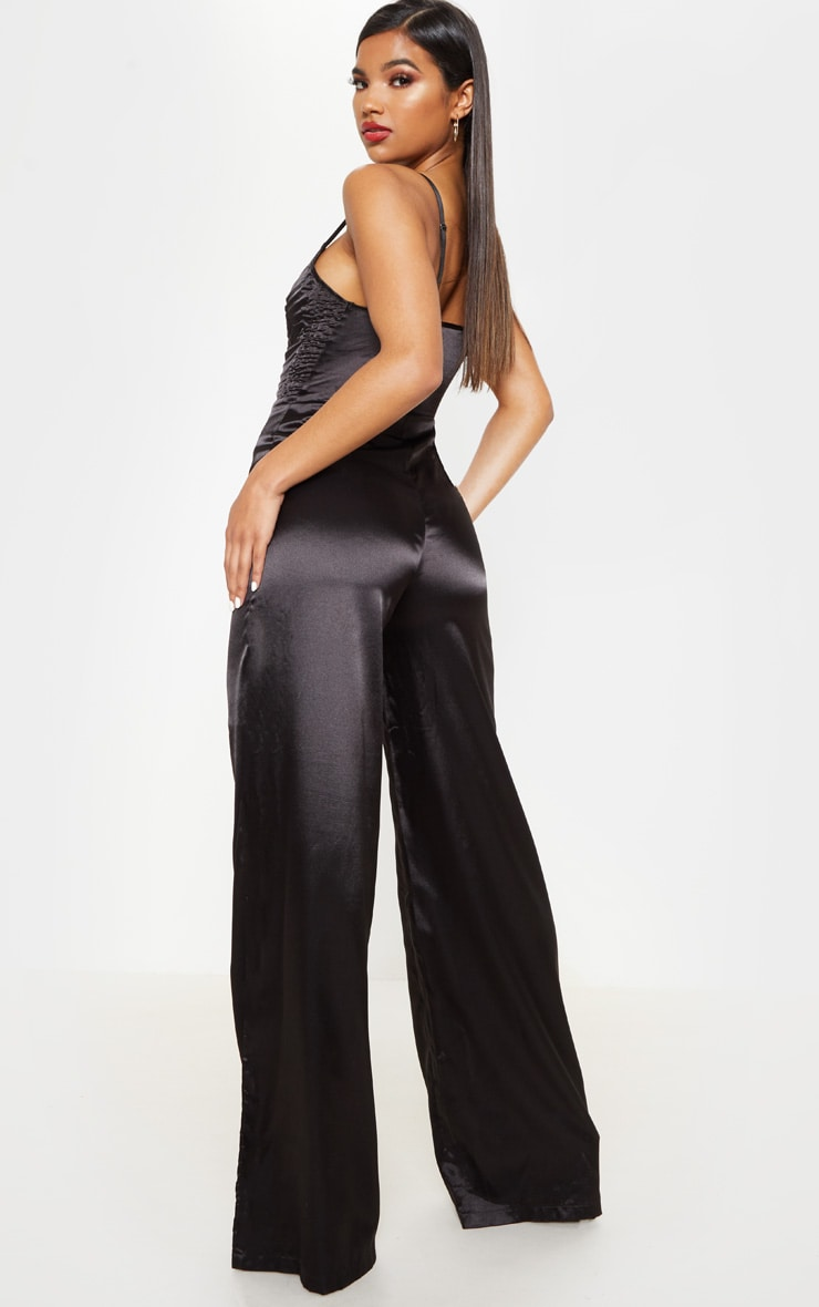 Black Satin Quilted Bust Wide Leg Jumpsuit 2